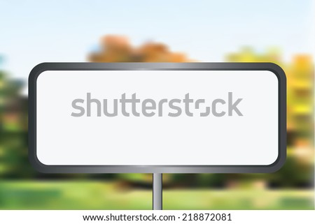 Blank vector billboard for advertisement, empty screen against city - stock vector