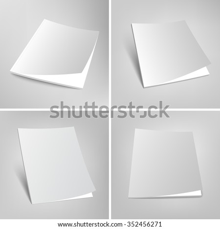 Blank vector illustration of magazines. Set of empty covers template. 3d book on gray background. - stock vector
