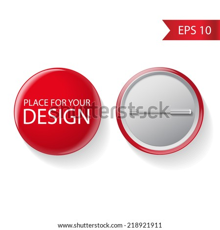 Blank vector red badge with place for your text. Both sides - face and back. Isolated on white background for design and branding. Vector  - stock vector