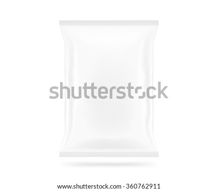 Blank vector snack bag mock up isolated. Clear white chips pack mockup. Cookie, candy, sugar, cracker, nuts, jujube supermarket foil plastic container ready for logo design or identity presentation. - stock vector