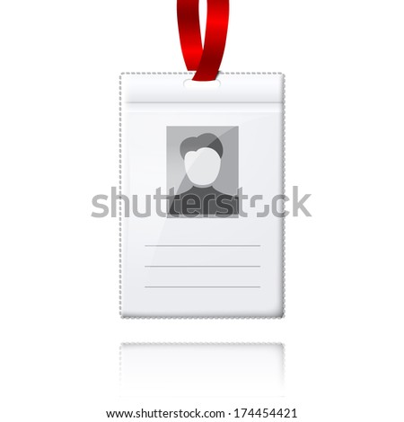 Blank vector vertical badge holder with place for photo and text. With bright red lace. Isolated on white background with reflection for design and branding. Vector - stock vector