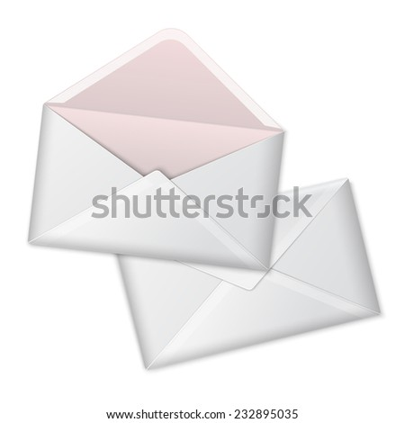 Blank vector white realistic envelopes opened and close. Isolated on white background with place for design and branding. - stock vector
