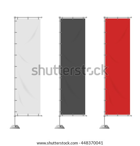 Blank vertical advertising banner in white, black, red color vector template. - stock vector
