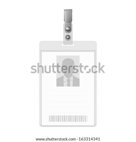 Blank vertical badge on white background. Identification card template.  - stock vector