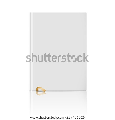 Blank vertical book cover template with gold bookmark standing on white glossy background with reflection Vector illustration. - stock vector