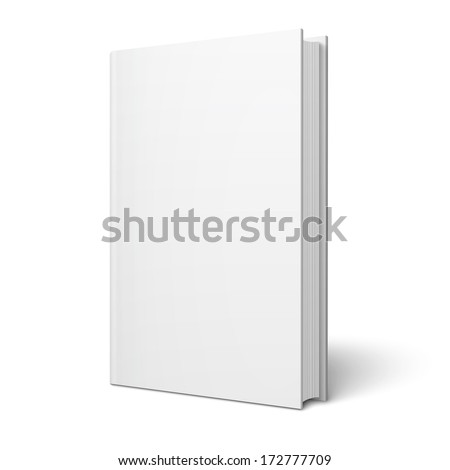 Blank vertical book cover template with pages in front side standing on white surface  Perspective view. Vector illustration. - stock vector
