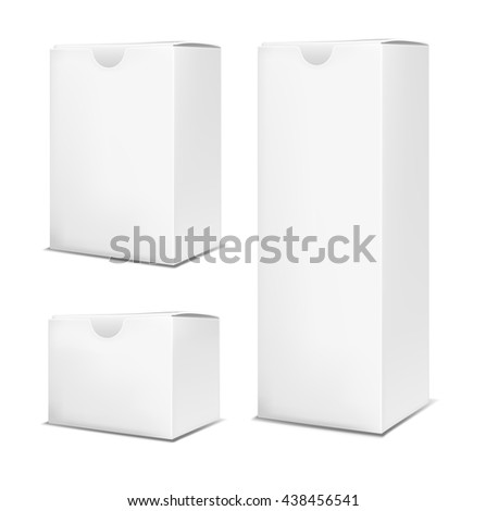 Blank vertical paper box on white background. - stock vector