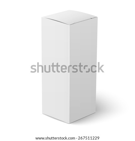 Blank vertical paper or cardboard box template standing on white background Packaging collection. Vector illustration. - stock vector