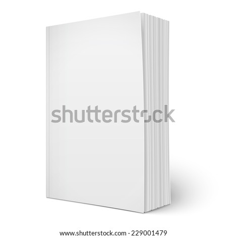 Blank vertical softcover book template with spreading pages standing on white surface  Perspective view. Vector illustration. - stock vector