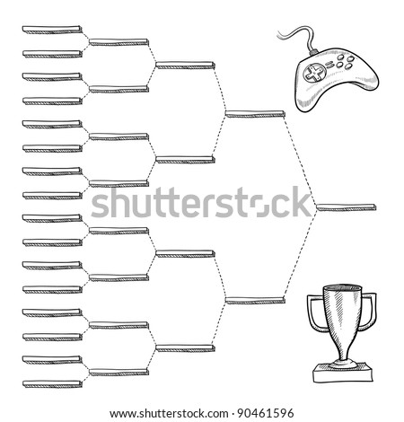 Blank video game tournament blank bracket - vector file with doodle style - stock vector