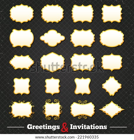 Blank vintage frames and labels. Retro floral classic banners. Greetings and Invitations golden border forms. Vector - stock vector