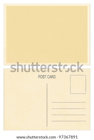 Blank vintage postcard Front and back side of blank vintage postcard. - stock vector