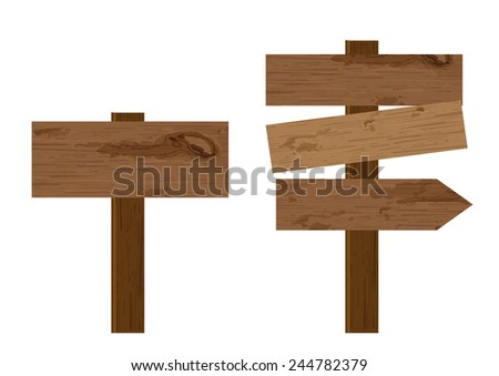blank way finding plank wooden signboard on isolated background vector - stock vector