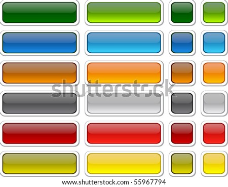 Blank web color buttons. Vector.