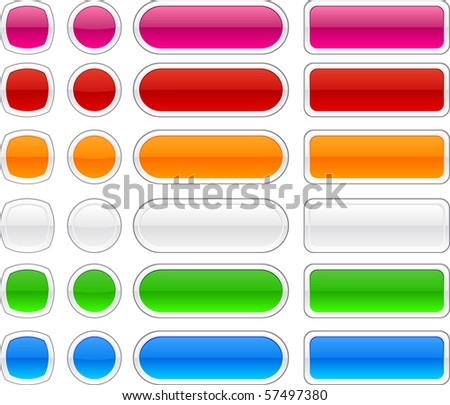 Blank web glossy buttons. Vector. - stock vector