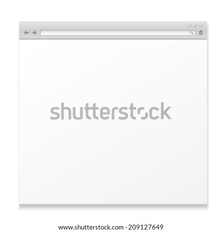 blank web page isolated on white background - stock vector