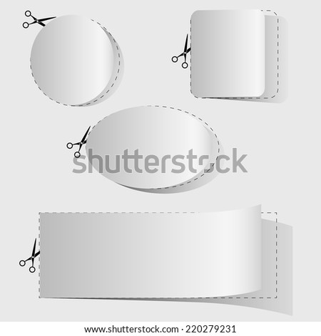 Blank white advertising coupon cut from sheet of paper. - stock vector
