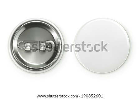 Blank white badge, vector realistic illustration - stock vector