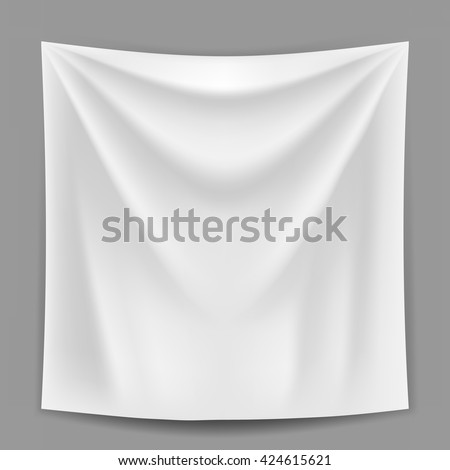 Blank white banner hanging on the grey wall vector template. Advertising banner or announcement banner mockup. Gradient mesh used. - stock vector