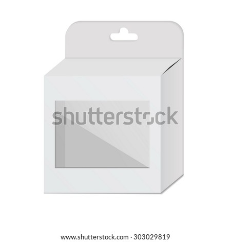 Blank white box with a plastic window on white background. Vector - stock vector