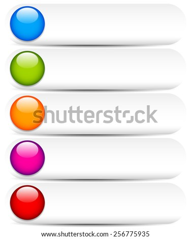 Blank White Buttons with Glossy, Colorful Circles. Buttons for UI, Web or Print Design with Space for Texts - stock vector