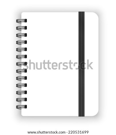 Blank white copybook template with elastic band. Vector illustration - stock vector