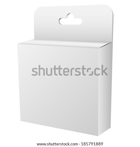 Blank white hanging retail box isolated on white background vector template. - stock vector