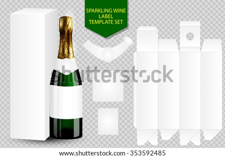 blank white label wine bottle with package box isolated on transparent background. Branding template - stock vector