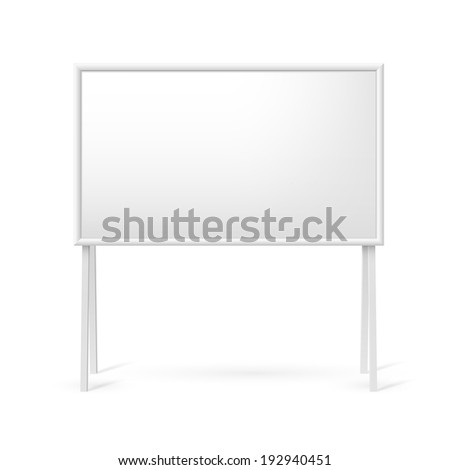 Blank white marker board for business presentations or teaching - stock vector
