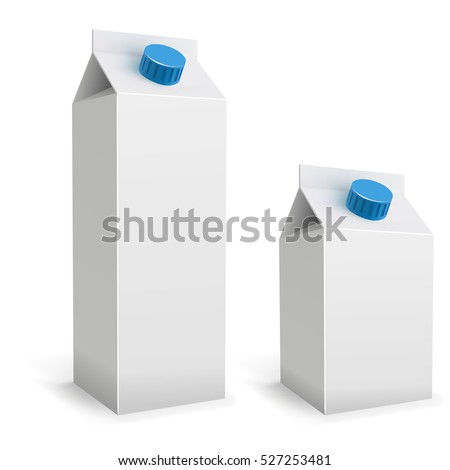 Blank white milk packs isolated on white background. 1 liter and 500 ml drink packaging vector template.