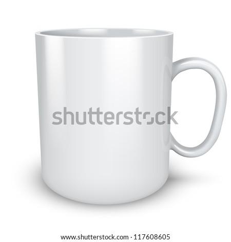 Blank white mug isolated on white background vector illustration. - stock vector