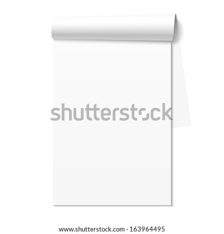 Blank white notepad, notebook. Vector. - stock vector
