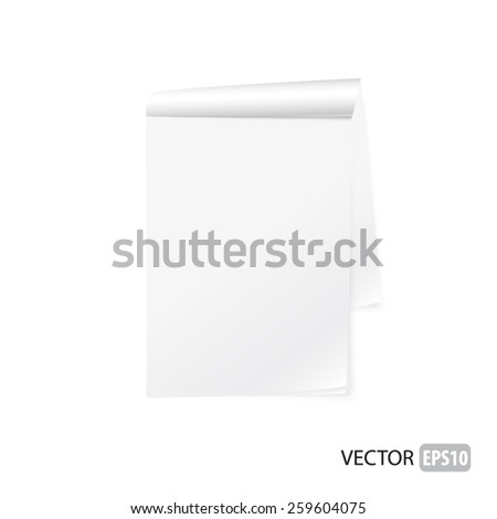 Blank white notepad vector. - stock vector
