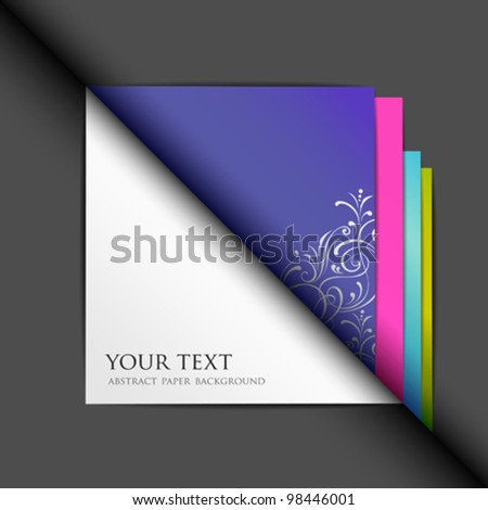Blank white paper and colored paper background. vector illustration - stock vector