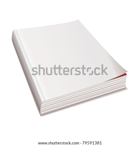 Blank white paper back book with shadow spine - stock vector