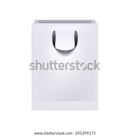 Blank white paper bag with black handles. Packaging design mock-up.
