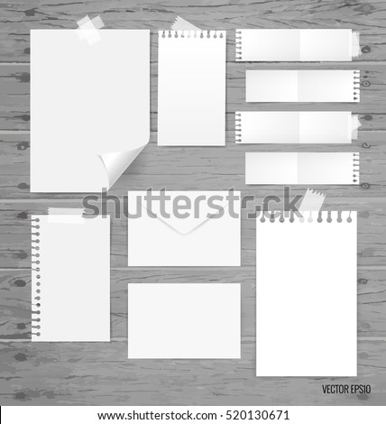 Blank white paper, note paper, envelope. Vector illustration.