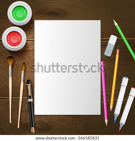 Blank white paper sheet and painter instruments on wooden background mockup vector illustration - stock vector