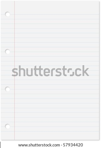 Blank white paper sheet with blue lines, margin and holes. - stock vector