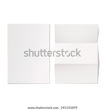 Blank white paper template on white background - stock vector