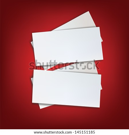 blank white piece of paper for message on red background