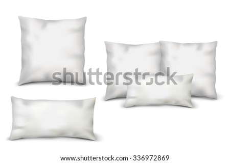 Blank White Pillows Set. Vector illustration of pillows with shadows isolated on white background