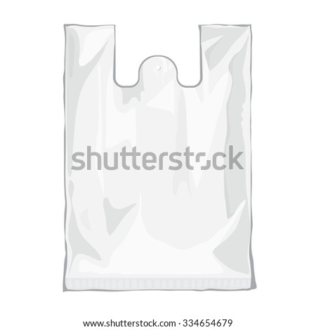 Blank white plastic bag isolated on white background. Blank plastic bag with place for your design and branding. Ready for Your design. Product packing bag. Vector transparent bag