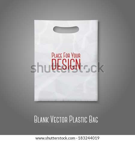 Blank white plastic bag with place for your design and branding. Vector - stock vector