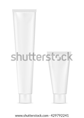 Blank white plastic tube for cosmetic, lotion, tooth paste and cream.