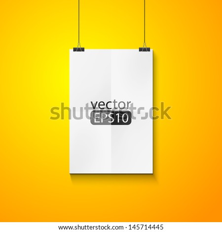 Blank white poster on yellow wall  - stock vector