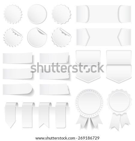 Blank white price tags, stickers, labels, banners and ribbons, vector eps10 illustration - stock vector