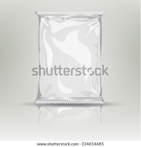 Blank white realistic foil snack pack grayscale template. Foil package with place for your design and branding. Product packing bag. Blank plastic pocket bag - stock vector