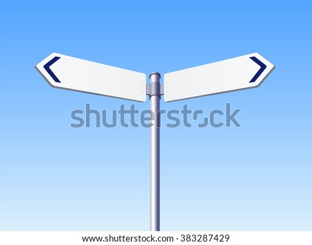 Blank white road signs in bright sky
