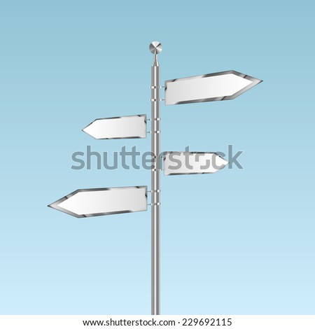 Blank white road signs in bright sky, vector - stock vector